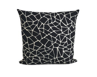 Black Off White Decorative Pillow | Linen Throw Pillow | Geometric Cushion | Indoor Outdoor Pillow