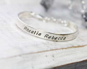 Sterling Silver Baby Cuff Bracelet- Hand Stamped Bracelet- Personalized Baby Bracelet- Personalized Cuff Bracelet
