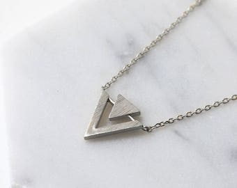 Sterling Silver Triangle Necklace Pendant Necklace Geometric Jewelry Dainty Necklace Double Triangle Necklace Small Layering Necklace N389-S