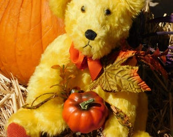 Handcrafted Teddy Bear Ready for Fall, Harvest, Thanksgiving 14 Inches