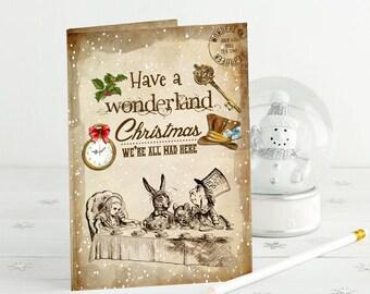Alice in Wonderland Card - Wonderland Christmas Card - Christmas Card - Winter Wonderland - Christmas Card -  Holiday Card - Card for Her