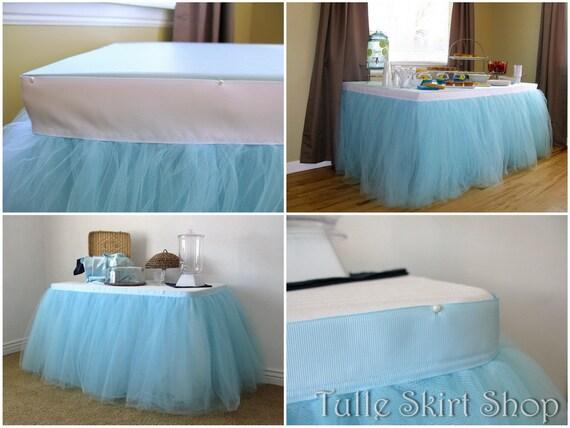 Blue Tulle Table Skirt Tutu Tableskirt For Wedding Birthday Baby Shower Custom Size Made To Order