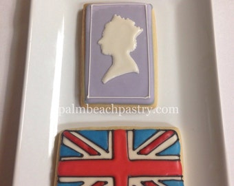 BRITISH Cookies favors  1 Dozen (12) Flag & queen silhouette