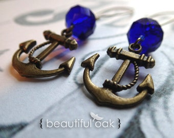 Patriotic Anchor Earrings with Blue Crystals