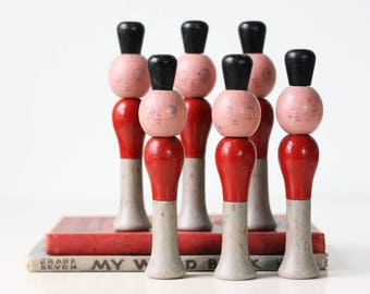Vintage Toy Soldiers, Set of 6, Bowling Pins, Skittles