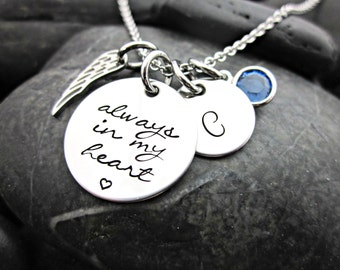 Memorial Necklace - Always in my Heart - Angel Wing - Initial - Birth Stone