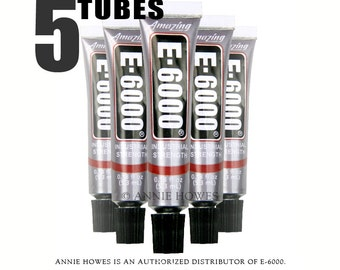 E-6000 Jewelry and Craft Adhesive .18 oz Tubes. 5 Pack. Annie Howes is an Authorized Distributor of E6000. Made in USA.