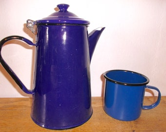 Vintage Royal Blue Enamelware Pitcher Coffee Pot or Tea and Hot Chocolate Pot with Mug Cup