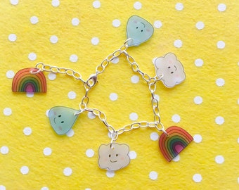 Kawaii April showers charm bracelet in bright - rainbow, cloud and raindrop