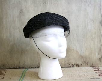 Vintage Black Straw Hat - Hat with Chin String - Home Decor - Netting