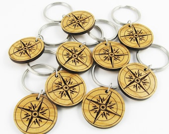 Keychains for Graduation With Compass - Bulk Order of 20 Engraved Wood Keychains (Front Only) - Party Favor for High School or College