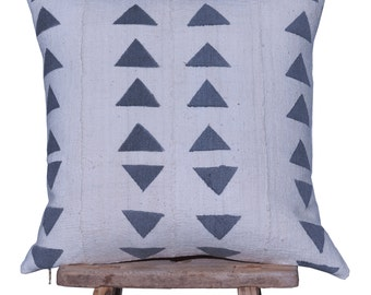 """Authentic African Mudcloth White and Grey Patterned Pillow Cover 18""""x18"""""""