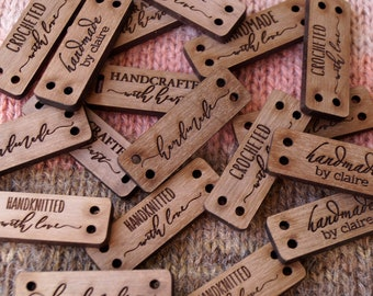 Wooden labels, custom clothing labels, personalized label tags, labels for handmade products, knitting labels, crochet labels, set of 25 pc