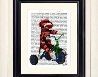 Sock Monkey on Tricycle - Sock Monkey print Sock Monkey art modern Nursery Art for Kids Room Décor Kids room art Unique kid gift boys room