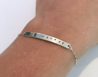 Hand Stamped, Personalized Sterling Silver Bar Bracelet