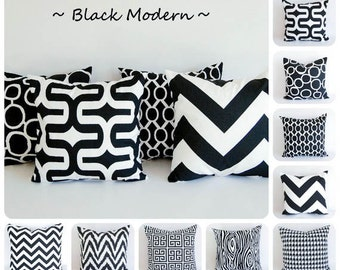 Black pillow cover One cushion cover black and white throw pillow cushion cover