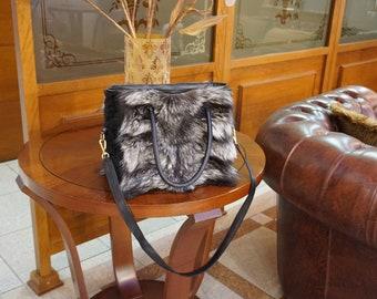 Silver fox fur handbag, Shoulder handbag F857