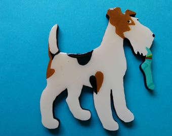 Wire Fox Terrier Pin, Magnet or Ornament -Free Shipping -Hand Painted