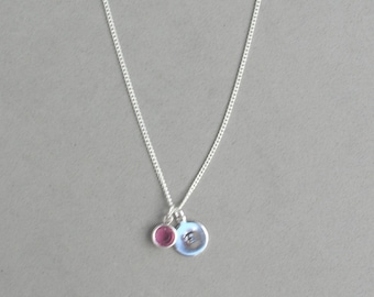 Swarovski October Birthstone and HS Initial Necklace HSB