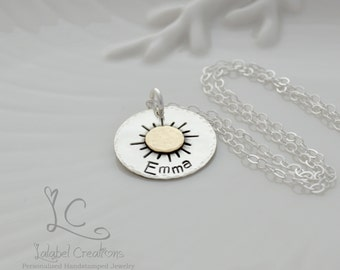 Hand Stamped Necklace, Sun Personalized Jewelry, Sun Personalized Name Necklace, My Sunshine Necklace, Sterling Silver Personalized Gifts