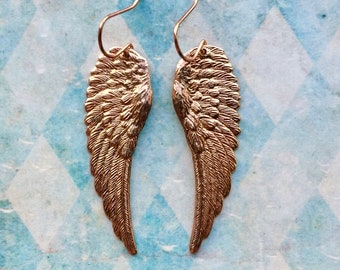 Angel Wing Earrings - Wing Jewelry - Rose Gold Earrings - Angel Wings - Rose Gold Jewelry - Romantic Jewelry - Angel Jewelry - Gift for Her