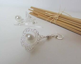 Kit flower hook earring filigree silver - Pearl acrylic - 5.5 cm - 147