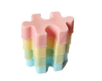 Puzzle Soaps - Bubblegum Scent - Pastel Colors - 4 Pack - Guest Size - Fun Novelty Glycerin Soap for Kids - Autism Awareness - Party Favors