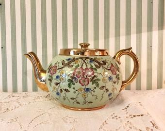 Lovely Vintage Gibsons Staffordshire England Green & Gold Floral Motif Teapot Tea Pot