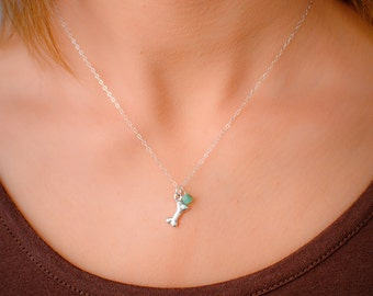 Tiny Silver Dog Bone Necklace with Blue Chrysoprase or CHOOSE GEMSTONE BIRTHSTONE - Sterling Silver Dainty Charm Personalized Pendant
