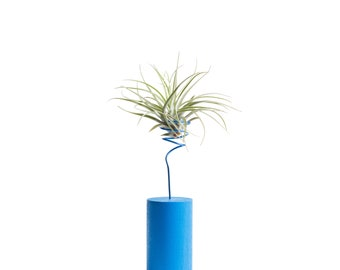Blue Air Plant Vessel, Mothers Day Gift, Airplant Holder, Wire Plant Vase, Plant Lovers Gift, Apartment Plant Decor, Shelf Plant, Mom Gift