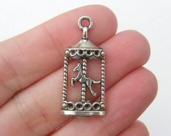 6 Carousel pendants antique silver tone A578