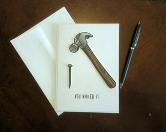 """CONGRATULATIONS Handmade Card for Man (or woman) """"You Nailed It"""" - fun card for someone in construction or wood working - 5""""x7"""" - Free Ship"""