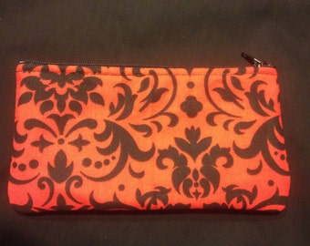 Black and Red Damask Pencil Case / Zipper Pouch, Coin Purse, or Wristlet #122