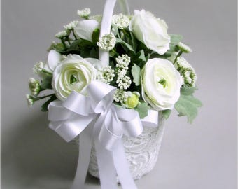 """Ivory and White Lace Flower Girl Basket, Ranunculus, Queen Anne's Lace, Greenery, Crochet Lace Basket, """"Floral Elegance"""""""