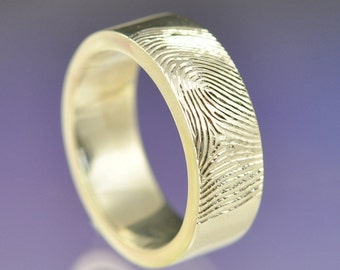 Personalised Fingerprint Ring. Your print hand engraved on a 5mm wide 950 platinum ring.