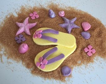 Beach Summer Fondant Flip Flops Cake Topper with Sea Shells - Colorful Beach Summer Wedding or Birthday Topper