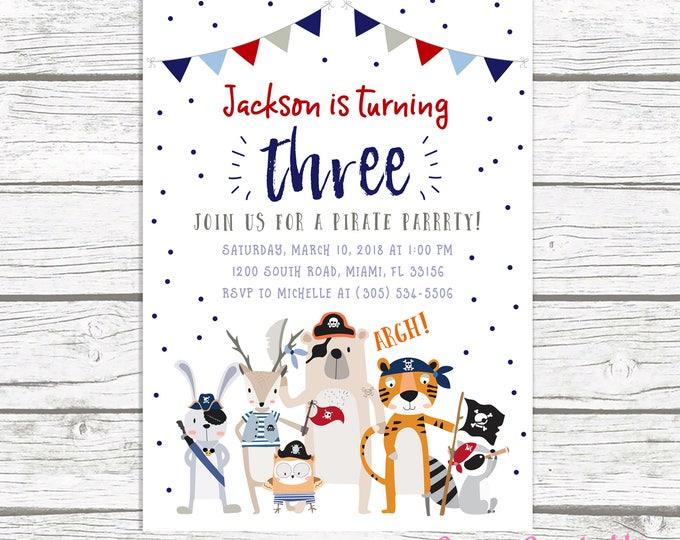 Pirate Birthday Invitation, Pirate Invitation, Pirate Birthday Party Invite, Pirate Party Invitation, First 1st Birthday Boy, Boy Birthday