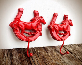 BOLD pair of horse and horse shoe hand towel hooks // cherry apple red // farm house cowboy rustic