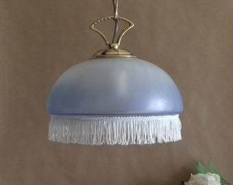 Chandelier hanging dome light blue glass frosted vintage White fringed french, french vintage pendant lighting