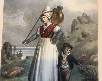delightful colour print of Belgian or Dutch lady and child  rural scene