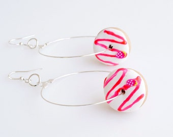 Strawberry Donuts Hoops Earrings, Donuts Earrings, Doughnuts, Donuts Jewelry, Polymer Clay Sweets, Mini Food Jewelry, Kawaii Jewelry