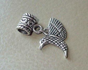 Antiqued Silver Hummingbird, Large Hole Dangle Bead fits European Style Charm Bracelets & Necklaces, Hummingbird Charm, Big Hole Bead