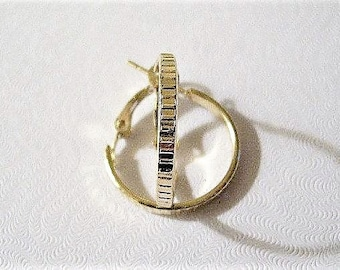 "1 1/2"" Lined Band Hoops Pierced Earrings Gold Tone Vintage Flat Large Round Support Clip Rings"