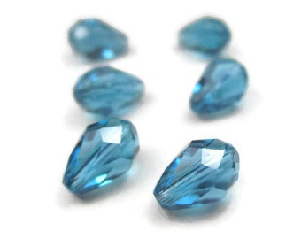 6 Indicolite Swarovski Crystal Teardrop Beads Teal Blue 5500 9x6mm Center Drilled