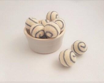Felt balls swirl needle felted pom pom ball 25mm handmade bead arts and crafts 100% wool white and grey felt balls
