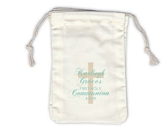First Communion with Cross Cotton Favor Bags for Religious Ceremony in Light Teal - Ivory Fabric Drawstring Bags - Set of 12 (1050)