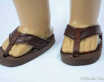 American Girl or Boy 18 inch doll FLIPFLOPS SANDALS SHOES in Genuine Leather in Dark Chocolate Brown with Clear Heel Strap