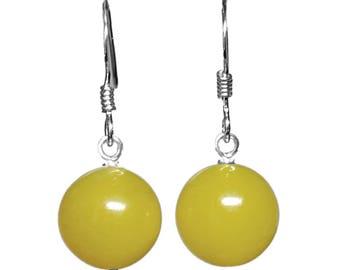 10mm Genuine Dyed Yellow Jade Gemstone Bead / Ball / Sphere 925 Sterling Silver Drop / Dangle Earrings Pair