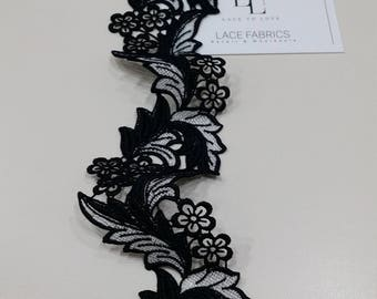 Black with white lace Trimming, French Lace, Alencon Lace, Bridal gown lace, Wedding Lace, Garter lace, Evening dress lace, Lingerie FL8901