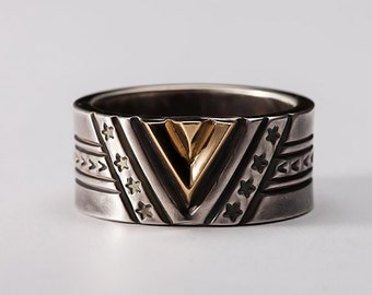 Victory Ring   Gold Chevron Ring   Geometric Band Ring   Engraved Silver Band   Men Silver Gold Ring  Oxidized Silver Band   18K Gold V Ring